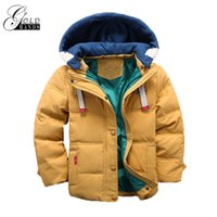 Wholesale Parka Children - Children Down & Parkas Winter Kids Outerwear Boys Casual Warm Hooded Jacket For Boys Solid Kid Warm Fashion Active Down Coats
