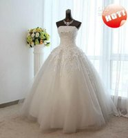 Wholesale Cheap Designer Beaded Wedding Dresses - Ball Gown Wedding Dresses Cheap Real Image 2018 Luxury Designer Shiny Sequins Beaded Ruffle organza Lace Applique Beads Bridal Dress Gowns