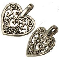 Wholesale Heart Pendant Filigree - retro silver heart love charms for sale bracelets diy necklaces pendants dangles hollow filigree slide alloy jewelry findings 16*14mm 400pcs