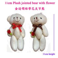 Wholesale Bear Bow Package - H=11cm Bow Teddy Bear With Flower Plush Pendants Toys Bouquet Package Keychain jewellery accessory gift Soft Amigurumi Dolls Toy