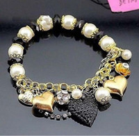 black pearl stretch bracelet - Betsey Johnson Black Heart Golden Bell Pearls Beads Stretch Bracelet