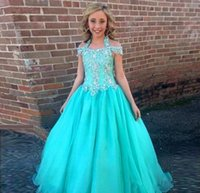 Wholesale Turquoise Blue Halter Pageant Dress - Popular Turquoise Blue Pageant Dresses For Girls 2016 Halter Off The Shoulder Crystal Organza Ball Gown Pageant Dresses Glitz Ritzee