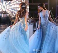 cinderella vestido de baile de formatura venda por atacado-Zuhair Murad Vestidos de Noite de Gelo Azul Applqieus Princesa Cinderela Prom Vestidos de Tule Vestidos de Festa de Luxo Vetidos