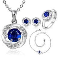 conjunto de colar de casamento de safira venda por atacado-New Elegante 925 Sterling Silver Sapphire Flor Colar Brincos Anéis Anklet Conjuntos de Beleza Conjuntos de Jóias de Casamento das Mulheres