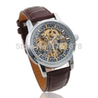 Wholesale Cjiaba Watches - CJIABA Self-Wind Auto Mechanical Men's Wrist Watch Leather Strap Hollow Engraving Skeleton Men Sport Business Dress Wristwatches watch fring