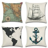 Vela Serie Mappa Barca a vela Anchor Throw Lino Pillow Case Divano Cuscino 45 * 45 CM Home Cafe Office Decor Regalo per la festa di inaugurazione della casa