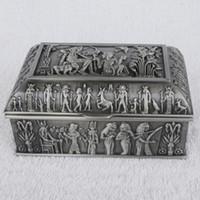 Wholesale Princess Jewellery Box - Vintage Egyptian jewellery treasure box antique metal luxury jewelry box princess jewelry makeup organizer birthday gift