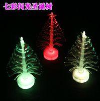 Wholesale Fiber Optic Fashion - Fashion Hot 12cm Christmas tree fiber optic light colorful light emitting the flowers three-dimensional christmas tree decoration gift