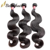 avrupa bakire saç uzantıları toptan satış-Ucuz Virgin İnsan Saç Hint Avrupa Perulu Brezilyalı Malezya Kamboçyalı 3 adet Paket Saç Çift Atkı Uzantıları Vücut Dalga Bellahair