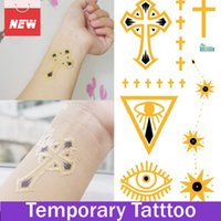 1 Blatt Kreuz Auge Sun Flash Tattoo Metallic Folie Tattoos Temporary Tat Aufkleber Tattoo Designs