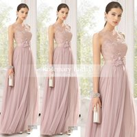 Wholesale Girl S Dresses Flower Fall - Cheap Bridesmaid Dresses Blush Color Tulle Lace Hand Made Flowers Long Maid Of Honor Dresses Floor Length Sheer Bridesmaid For Girls
