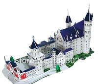 Wholesale Neuschwanstein 3d - Wholesale-Educational DIY Neuschwanstein Castle 3D Jigsaw Puzzles, Kics Paper Puzzles Toy, Free Shipping