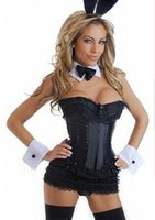 Wholesale Tuxedo Bunny - Free shipping Sexy Adult Black Playboy Bunny Tuxedo Corset Cuffs Costume Halloween Medium la80068