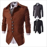 Wholesale Double Breasted Suit Men - New Arrival Mens Blazer Jacket Multi-button Design Men's Casual Slim Fit Suit Jacket Free Shipping 3 Colors puls size free shipping