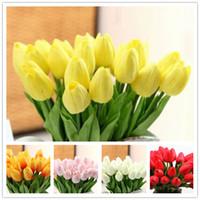 ingrosso decorazione tulipani gialli-Vero tocco artificiale Tulipano artificiale Tulipano Simulazione Tulip Wedding Party Decorazione domestica bianco giallo Tulipano fiore