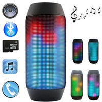 Wholesale Button Cool - Wholesale-Pulse Cool Portable Stereo Wireless Bluetooth Speaker With FM LED Light For Party Big Power Loudspeaker TF Card Music Player