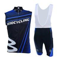 Wholesale Cool Biking Wear - Summer Road Cycling Team Jerseys Blue Cool Sleeveless Bike Wear Sets Fashion Anti Pilling Biking Jerseys BX-0309B-010