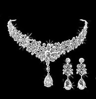 Wholesale Cheap Silver Clip Earrings - 2015 Bridal Jewelry Wedding Bridal Crystal Rhinestone Accessories Necklace and Earring Ear Clip Style Sets Silver Plated In Stock Cheap ZYY