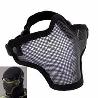 masque de masques airsoft achat en gros de-Airsoft Masque Casque Tactique Moitié Inférieur Visage Filet Métal Acier CS GO Chasse Protecteur Montre Chien Masque