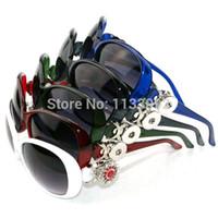 Wholesale fit sunglasses - Wholesale-5pcs lot 5 colors Ginger Snap Button Women Sunglasses Goggle Glasses Eyewear UV Protection Sunglasses Fit Snap button jewelry