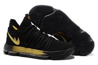Hot KD 10 Black gold homens mulheres Men's Basketball Shoes para venda barata Kevin Durant Sports Sneakers