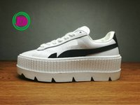 Wholesale Toe Flatform - Hot Sale FENTY Suede Cleated Creeper Women Black Brown White Creepers By Rihanna Shoes Cheap High Quality flatform shoes With Box