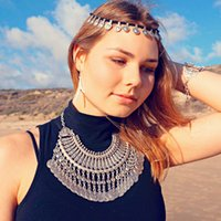 Wholesale Tribal Necklace India Wholesale - Bohemian Beachy Coin Fringe Statement Necklace Boho Festival Silver Fringe Bib Ethnic Turkish India Tribal