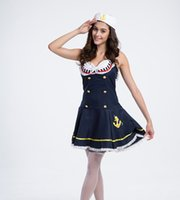 Wholesale navy uniforms women - The European And American Ladies Fancy Sailors Costume Navy Cosplay Costume Uniforms Temptation Navy Sailor Dress Sexy Service Clothing
