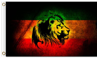 Wholesale Reggae Fashion - Wholesale Fabric Prints 90x150cm 100D Polyester 3x5ft Fashion Metal Classic Reggae Music Green Yellow Red Reggae Rasta Lion Posters