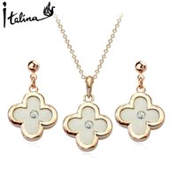 Wholesale Italina Rigant Flower - Italina Rigant Christmas gifts elegant clover flower jewelry set two colors to choose from - 18K Rose Gold Plated # RG054S