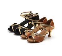 Wholesale Zapatos Baile Latino - Wholesale-Free shipping gold&brown 2 colors latin dance shoes for women ballroom&salsa shoes zapatos de baile latino ss-225