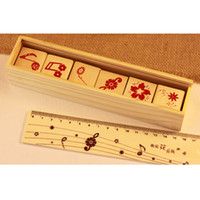 Wholesale Musical Pencil - Creative Musical Flower DIY Wood Stamp Multifunctional Vintage Wood Rubber Stamp Pencil Box Ruler Student Stationery 6pcs SK782