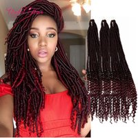 Wholesale Long Braid Hair Piece - long BRAIDED Havana Mambo Dreadlocks GODDESS CROCHET BRAIDS 18inch faux locs braids hair extensions synthetic braiding hair Janet Collection