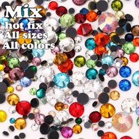Wholesale Hot Fix Rhinestones Mixed Sizes - DMC Hot Fix Rhinestone Mix All Sizes All Colors 20Gram Approx 800pcs Iron-on Hot Fix Stone Crystal Beads Free Shipping ! Y0026
