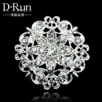 Wholesale Clear Rhinestone Flower Broach - hot sale Huge Flower Stunning Clear Crystal Brooch Jewelry , Wedding Bouquet Huge Broaches Pins free shipping