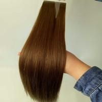 ombre saç uzantıları tutkalı toptan satış-Brezilyalı bakire saç ıslak ve ipek düz örgü ucuz bant saç uzantıları