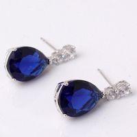 Wholesale Gold Earrings Brilliant - Engagement earrings 18k white gold plating drop earings pear brilliant blue zircon charm dangle earring E036b