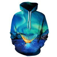 Wholesale Men Stylish Hoodies - Stylish Blue Nebula Mermaid Tail 3D Print Sweatshirt Womens Mens Hoodies Pullover Coat Tracksuit Hooded Tops