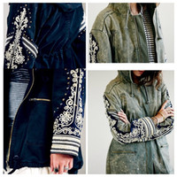 Wholesale Hooded Frock Coat - Phnom Penh embroidery brand new line of rivets hove lock ethnic style casual frock coat female retro do the Vintage