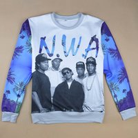 Wholesale Nwa Sweatshirt - Free shipping new fashion mens womens 3D sweatshirt print NWA COMPTON crewneck casual pullover hoodies for men women