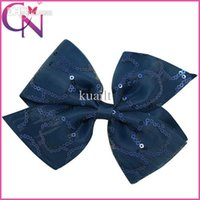 "Wholesale Making Hair Accessories Ribbon - Free Shipping 5"" Hand Made Grosgrain Ribbon Hair Bows Baby Sequin Hair Bow Clips Hair Accessories For Girls Kids Hairbow 1pcs"