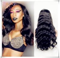 african american glueless peruklar toptan satış-Brezilyalı Bakire Saç Tutkalsız Tam Dantel İnsan Saç Peruk Siyah Kadınlar Için dantel Ön Peruk 100 İnsan Saç Peruk Afrikalı Amerikalılar Için