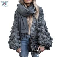 Wholesale Chunky Sweaters - Wholesale-2017 Autumn&Winter Knitted Crochet Sweater for Women Chunky Oversize Cardigan Coat Open Female Sweaters Cardigan Women Knitwear