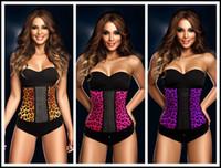 Wholesale Leopard Print Body Shaper - XS-3XL leopard printing latex rubber waist training Cincher underbust corset 3 colors women body shaper steel boned wear J070304#