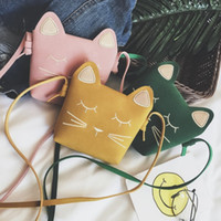Wholesale Wholesale Messenger Purses - Cute Cat Children Bags Korean Cat Ear Princess Mini Children Messenger Bag Fashion Casual Change Purse Kids handbag C2389