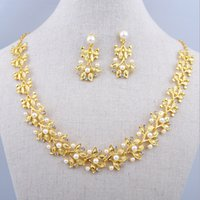 Wholesale Classic Costume Jewelry Wholesale - Free shipping Bridal Jewelry Costume Jewelry Gold Plated Elegant Wedding Jewelry Set Big Pendant Statement Necklaces Brand New Women Accesso
