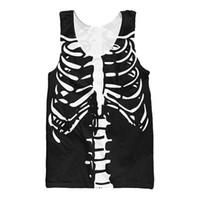 Wholesale Bone Print Tank - Wholesale- Harajuku Sexy Skull Skeleton Vest Halloween Spirit The Bones 3d Print Tank Top Men Unisex Undershirt Jersey Tees Shirt Plus Size