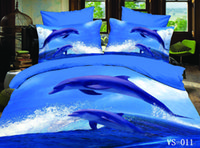 Wholesale Dolphin Sheets Queen - 4pcs 6PCS Printed Blue Sea Dolphins Waves 3D Bedding Sets Full Queen King California King Size Flat Bed Sheet Or Fitted Bed Sheets