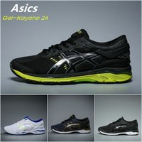 Wholesale Blue Light Camp - 2017 Asics Originals Gel-Kayano 24 Black Light green Cushioning Running Shoes T749N-9085 Mens Boots Athletic Sport Sneakers US 5.5-10