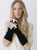 Wholesale white knit gloves resale online - 2016 Solid Lace knitted Fingerless Gloves Ballet Dance button glove wrist warmers Arm Warmers mitten Fashion colors